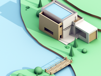 Modern Lake House 3d blender modern house water low poly isometric nature sea ocean lake house modern