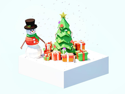 Christmas Tree Scene madewithblocks vr snowman snow blender isometric low poly landscape scene christmas tree tree christmas