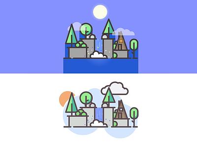 Waterfall Cabin - Day/Night Versions nature waterfall cabin landscape flat vector line art minimalistic simple 2d illustrator illustration