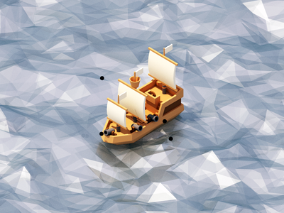 Pirate Ship asset isometric low poly model 3d vehicle ocean sea pirate ship boat ship pirate