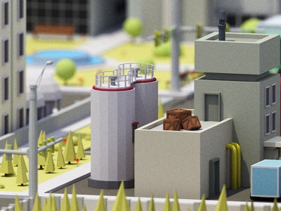 Low Poly City nature tree isometric 3d render blender low poly house building town urban city