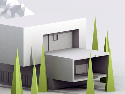 Architecture Study b3d blender isometric low poly 3d scene landscape tree mountain building