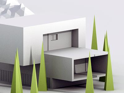 Architecture Study b3d blender isometric low poly 3d scene landscape tree mountain building