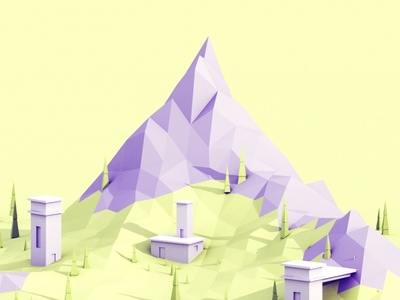 Low Poly Moutain grass c4d game tree building b3d landscape nature isometric mountain low poly