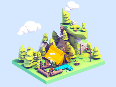 Low Poly Camping Assets nature 3d game model asset camping camp madewithblocks ar vr isometric low poly