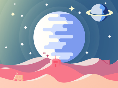 Flat Space Scene (2D) illustration affinity designer galaxy earth planet star space landscape flat 2d illustrator