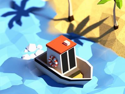 Low Poly Boat / Island Scene isometric nature palm tree sea ocean beach sand shore island ship boat low poly