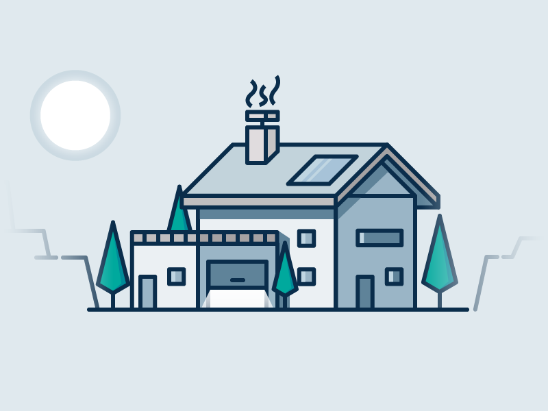 Simple House sun urban simple flat home tree house house illustration illustration illustrator 2d