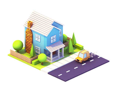 Suburban Home illustration city car tree building model low poly blender 3d isometric home house urban
