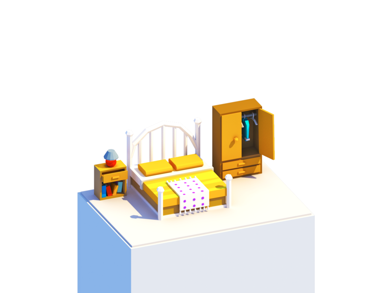 Low Poly Bedroom b3d dresser table madewithblocks virtual reality blocks vr illustration model blender 3d isometric bed interior house room low poly lowpoly bedroom