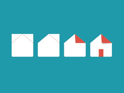 origami house fold paper folded list home house process icon design logo