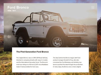 Ford Bronco - UI 4x4 truck bronco ford bronco interface web card ui product design