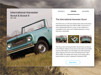 International Scout - UI 4x4 truck ih scout interface web card ui product design