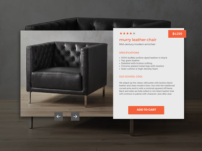 Murry Leather Chair user interface ecommerce sales interface web card ui product design