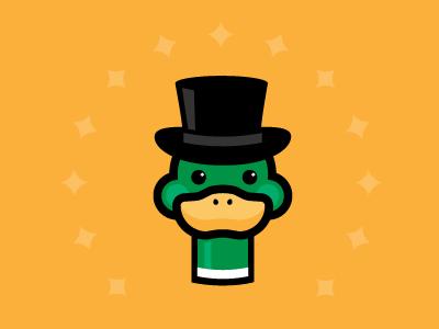 That's quacktastic illustration happy smile logo design logo magic hat quack duck