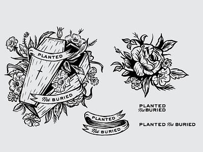 Floral Piece procreate linework blackart design illustration lettering