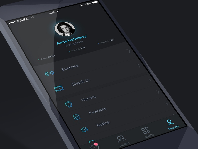 persona page of A app concept design blue app icon interface concept fun ux design ui