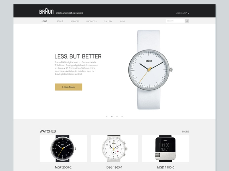 Web design-for Braun watches product black braun web design green app.game ui