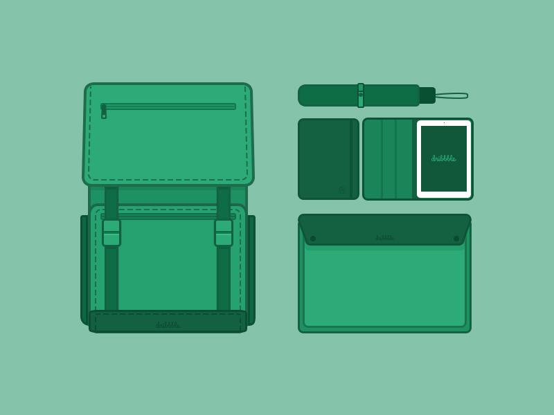 Equipment kit pad bag product green design app ui