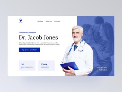 Family doctor website UI/UX doctor physician figma web design website uxui health healthcare personal blue uiuxdesign medicine web ux ui