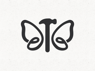 Logo exploration for remodeling company. hammer butterfly metamorphosis transformation remodeling construction