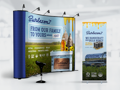 Burlesons Tradeshow Displays pullup banner bulk honey booth trade