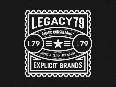 L79 Seal destination stamp vector illustration design typography logo branding legacy79