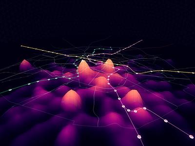 Metropolitain dataviz datavisualization webgl isochronic heatmap 3d subway traffic data visualization