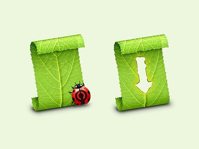 Script Debugger Document Icons ladybug leaves leaf