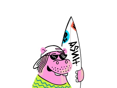Gus surfboard hippopotamus surfing hippo illustration color design branding