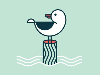 Seagull illustration seagull bird shrimpin pylon water lines