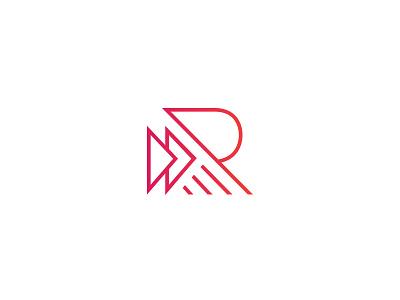 R Exploration focus lab mark logo branding knowledge tutoring education typography arrows letter r