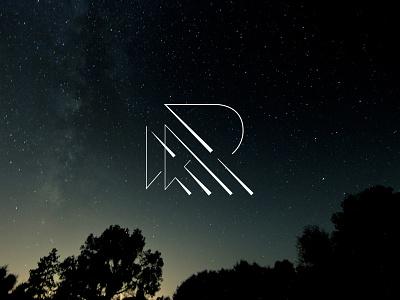 Astronomy astronomy meteor stars focus lab mark logo branding tutoring education typography letter r