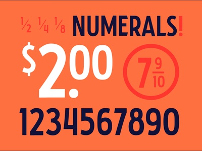 Numerals! numerals fractions focus lab letters display typeface design branding typography