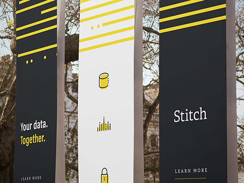 Data Banners banner mark focus lab black yellow s branding spool data stitch