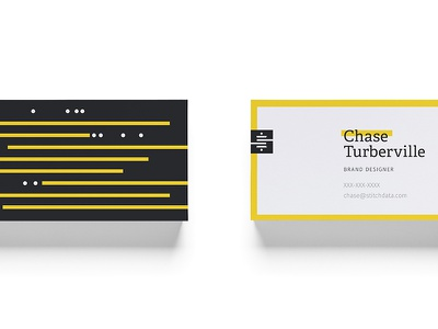Stitch Business Cards collateral business cards mark focus lab black yellow s branding spool data stitch