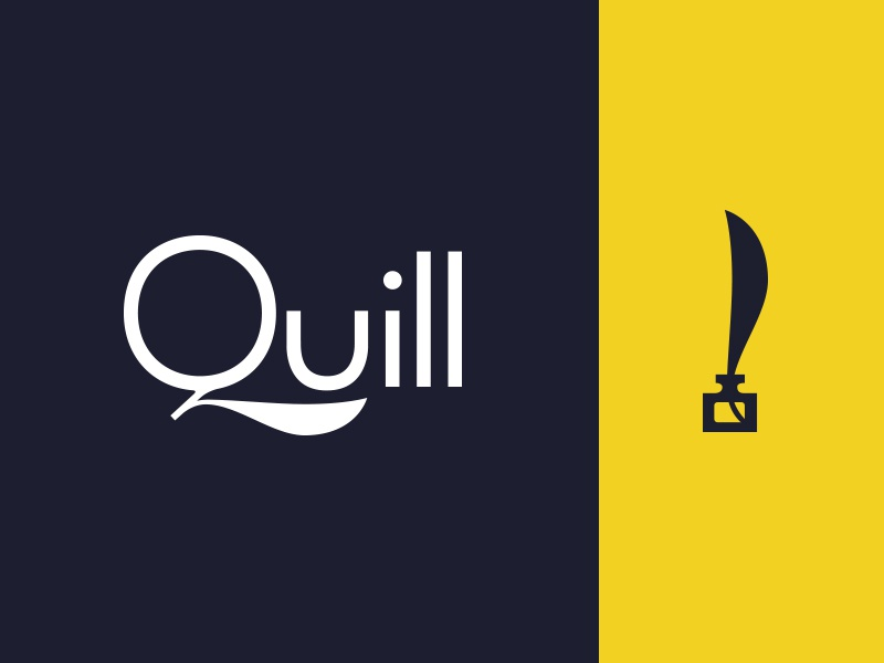Quill ink inkwell focus lab q typography color quill logotype branding