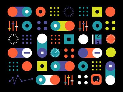 Control Panel design focus lab color toggle control panel space illustration pattern branding