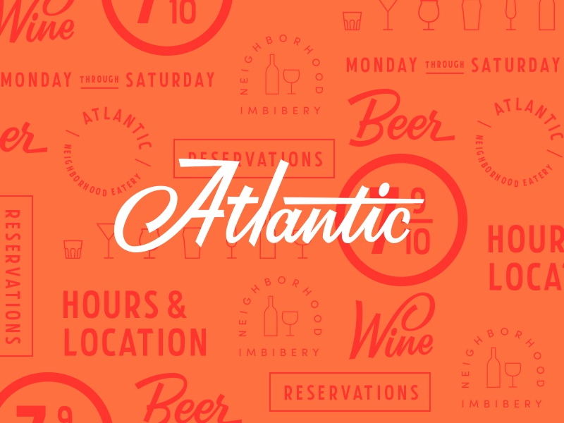 (A)tlantic a type focus lab color script brush script iconography typography lettering branding