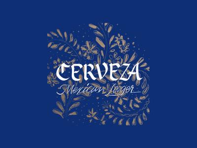 Cerveza branding focus lab gold blue flowers floral pattern lager cerveza beer lettering typography