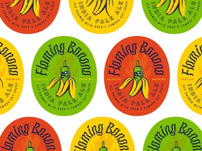 Flaming Banana typography branding focus lab packaging label ipa beer banana flaming banana