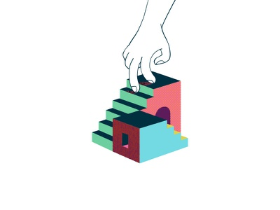 Steppin' Out steps walking stairs hand illustration color design branding focus lab