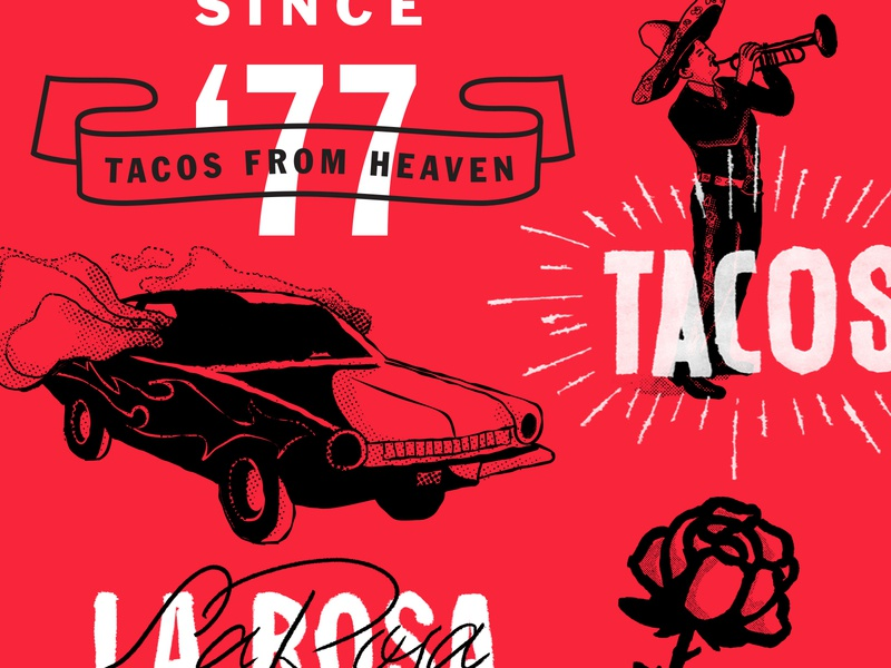 Gordo Taqueria rose tacos typography illustration color design branding lettering focus lab