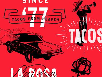 Gordo Taqueria rose tacos typography illustration color design branding lettering focus lab