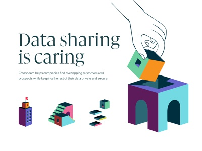 Data sharing is caring stairs blocks hand focus lab isometric color illustration branding
