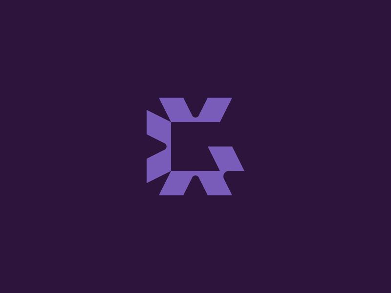 Galvanize purple monogram g logo mark color design branding focus lab