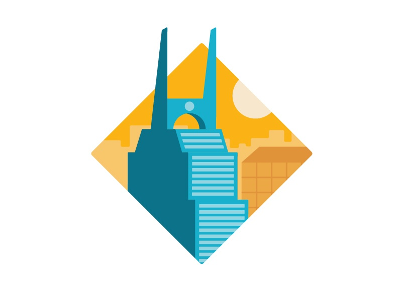 Batman Building blue illustration orange minimal icon sun building batman flat