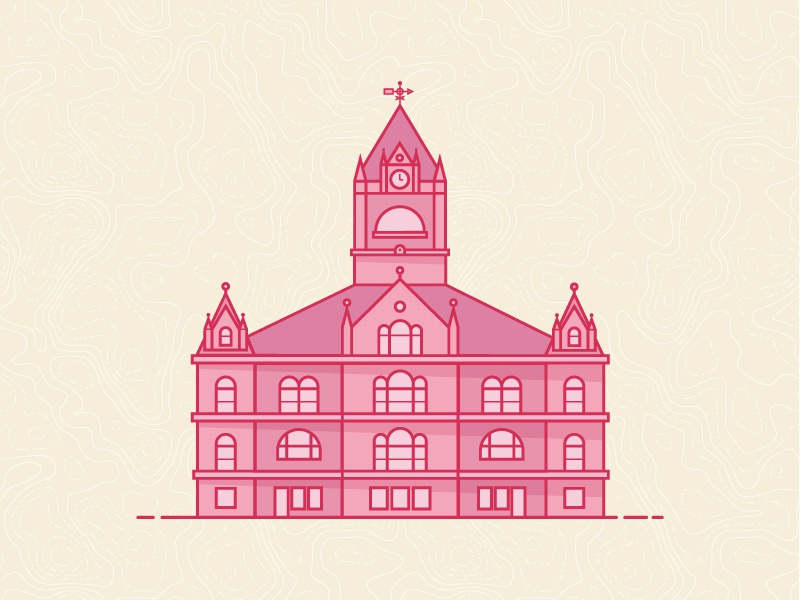 Ye Ole Capitol shadow flat icon map topography pink building capitol indiana