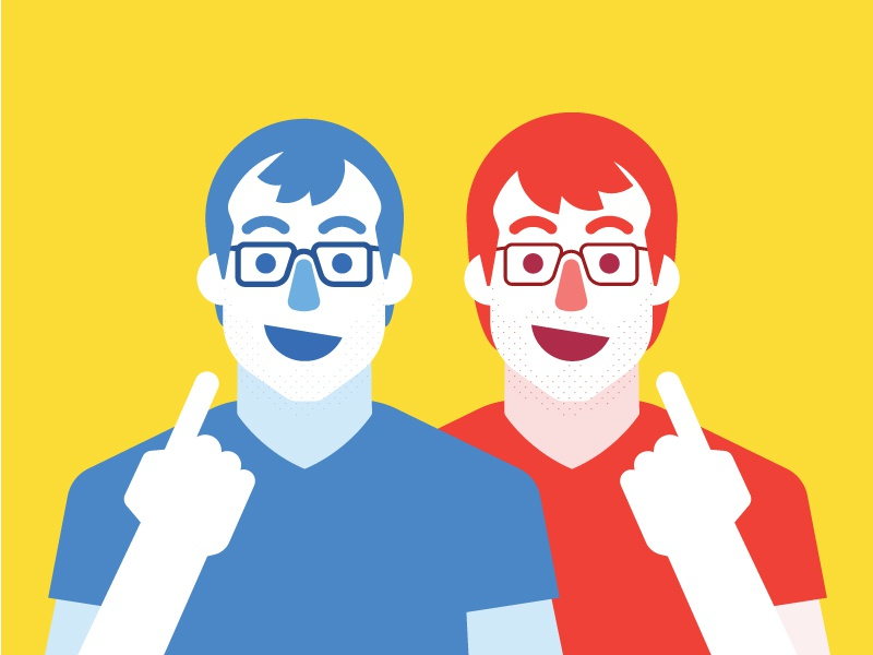 We Dem Boyz illustration portrait face people person glasses halftone flat primary twins
