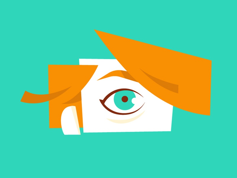 Abstract Face girl person illustration orange teal eye abstract face flat